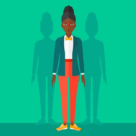 coworkers: An african-american woman with some shadows of her coworkers behind her on a green background vector flat design illustration. Square layout. Illustration