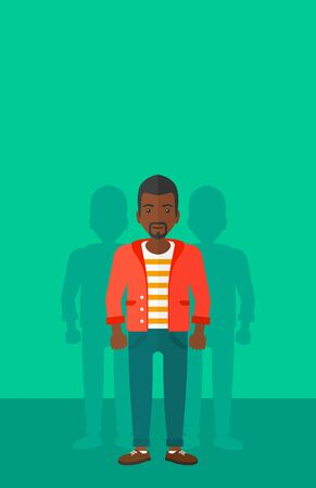 coworkers: An african-american man with some shadows of his coworkers behind him on a green background vector flat design illustration. Vertical layout.