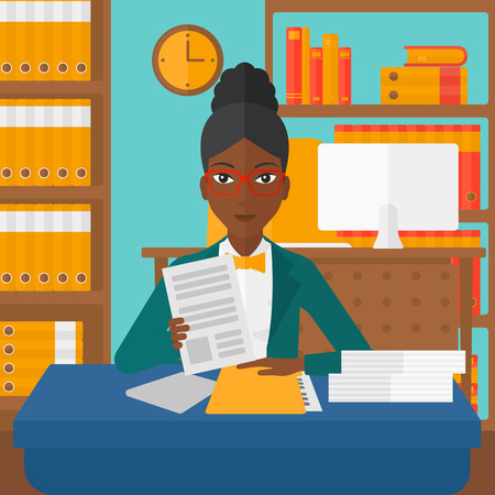 An african-american human resources manager reading application portfolios on the background of office vector flat design illustration. Square layout.
