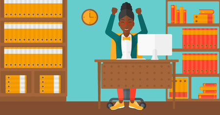 An african-american woman with raised hands sitting at the table on the background of office vector flat design illustration. Horizontal layout.