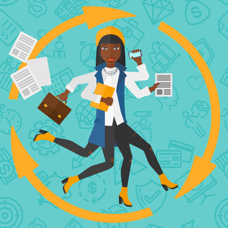 busy: An african-american woman with many hands holding papers, suitcase, devices on a blue background with business icons vector flat design illustration. Square layout. Illustration