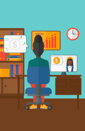 An african-american woman sitting in the office and talking with other woman using video chat vector flat design illustration. Vertical layout.