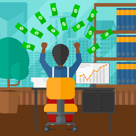 An african-american man sitting in front of computer with raised hands and money flying above him on the background of panoramic modern office with city view vector flat design illustration. Square layout.