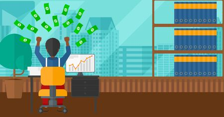 flying man: An african-american man sitting in front of computer with raised hands and money flying above him on the background of panoramic modern office with city view vector flat design illustration. Horizontal layout. Illustration