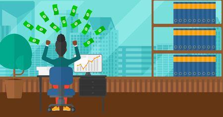 dinero volando: Una mujer afroamericana sentado frente a la computadora con las manos levantadas y dinero volando por encima de ella en el fondo de la oficina moderna panor�mica con vistas a la ciudad de vector dise�o plano. disposici�n horizontal.