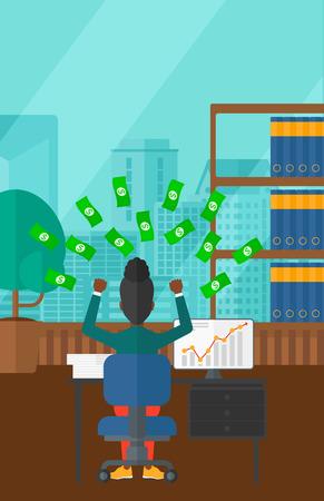 money flying: Una mujer afroamericana sentado frente a la computadora con las manos levantadas y dinero volando por encima de ella en el fondo de la oficina moderna panorámica con vistas a la ciudad de vector diseño plano. disposición vertical.