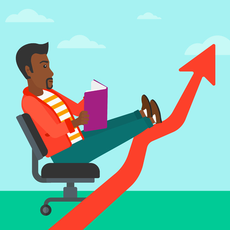 lay: An african-american man sitting in chair with a book in hands while his legs lay on an uprising arrow on the background of blue sky vector flat design illustration. Square layout.