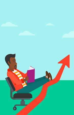 lay: An african-american man sitting in chair with a book in hands while his legs lay on an uprising arrow on the background of blue sky vector flat design illustration. Vertical layout. Illustration