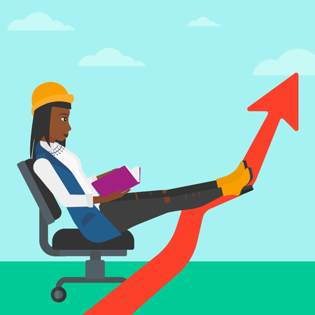 lay: An african-american woman sitting in chair with a book in hands while her legs lay on an uprising arrow on the background of blue sky vector flat design illustration. Square layout.