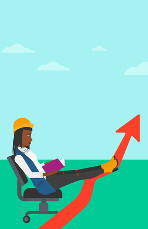 uprising: An african-american woman sitting in chair with a book in hands while her legs lay on an uprising arrow on the background of blue sky vector flat design illustration. Vertical layout.