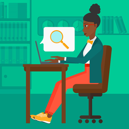 woman using laptop: An african-american business woman sitting in the office and doing an internet search using a laptop on the background of office vector flat design illustration. Square layout.