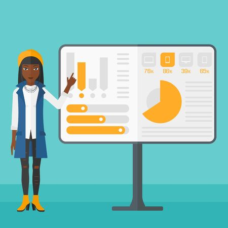 An african-american woman pointing at charts on a board during presentation on a blue background vector flat design illustration. Square layout.