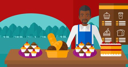 proprietor: An african-american man standing in front of table with pastry on the background of bakery vector flat design illustration. Horizontal layout.