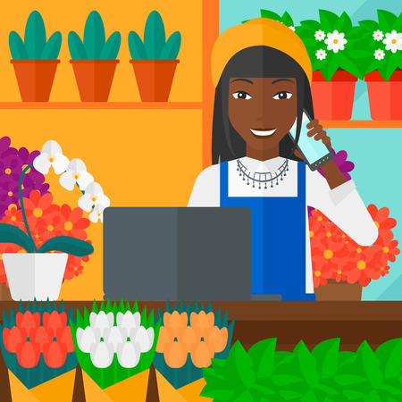 proprietor: An african-american woman taking an order by phone on the background of flower shop vector flat design illustration. Square layout.