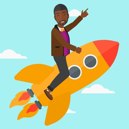 forefinger: An african-american man flying on the rocket with a forefinger pointing up on the background of blue sky vector flat design illustration. Square layout. Illustration