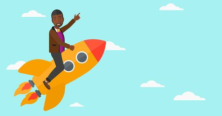 forefinger: An african-american man flying on the rocket with a forefinger pointing up on the background of blue sky vector flat design illustration. Horizontal layout. Illustration