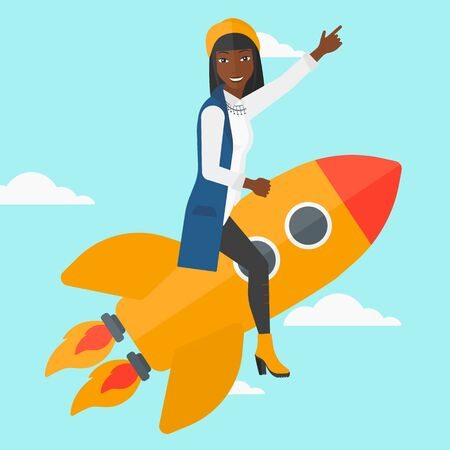 woman pointing up: An african-american woman flying on the rocket with a forefinger pointing up on the background of blue sky vector flat design illustration. Square layout. Illustration