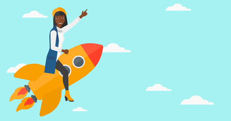woman pointing up: An african-american woman flying on the rocket with a forefinger pointing up on the background of blue sky vector flat design illustration. Horizontal layout.