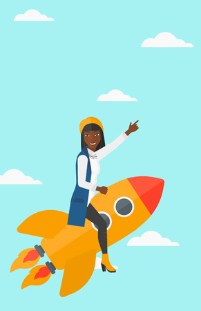 woman pointing up: An african-american woman flying on the rocket with a forefinger pointing up on the background of blue sky vector flat design illustration. Vertical layout.