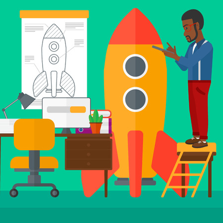 engeneering: An african-american man standing on ladder and engeneering a rocket on the background of workspace vector flat design illustration. Square layout. Illustration