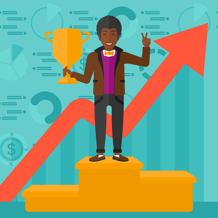 An african-american man standing on the winning podium with a trophy in hand on a blue background with business graphs and rising up arrow vector flat design illustration. Square layout.