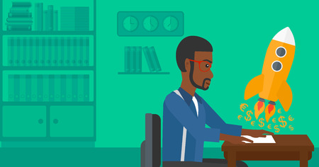 taking off: An african-american man sitting at the table and looking at a rocket with money taking off the paper on the background of office vector flat design illustration. Horizontal layout. Illustration