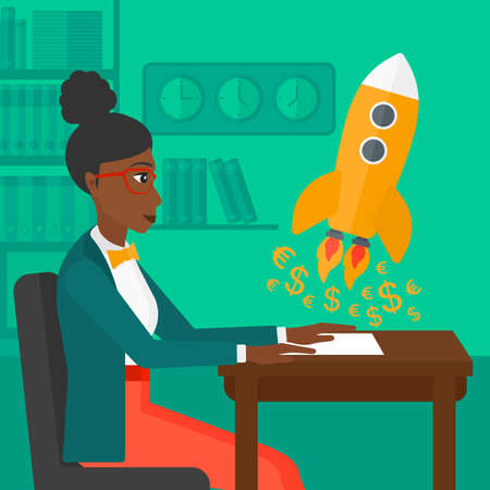 An african-american woman sitting at the table and looking at a rocket with money taking off the paper on the background of office vector flat design illustration. Square layout. 向量圖像