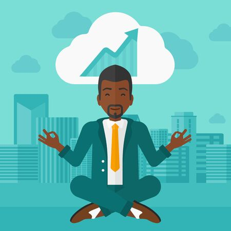 man meditating: An african-american man meditating in lotus pose and thinking about the growth graph  on the background of modern city vector flat design illustration. Square layout.