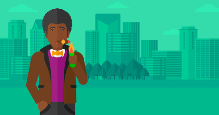 cigar smoking man: An african-american man smoking a cigar on the background of modern city vector flat design illustration. Horizontal layout.