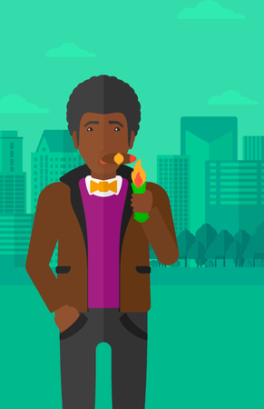 An african-american man smoking a cigar on the background of modern city vector flat design illustration. Vertical layout. Stock Illustratie