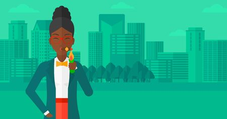 confident woman: An african-american woman smoking a cigar on the background of modern city vector flat design illustration. Horizontal layout.