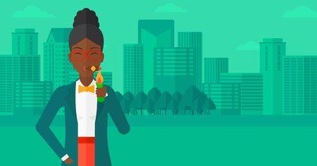 donna ricca: Una donna afro-americana fumare un sigaro sullo sfondo del design piatto illustrazione vettoriale città moderna. layout orizzontale. Vettoriali