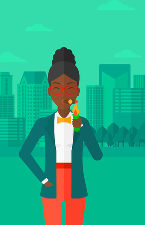 woman black background: An african-american woman smoking a cigar on the background of modern city vector flat design illustration. Vertical layout.