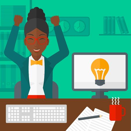 An african-american woman with raised hands sitting at the table on the background of office vector flat design illustration. Square layout.