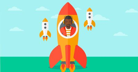 taking off: An african-american man taking off in a rocket on the background of blue sky vector flat design illustration. Horizontal layout.