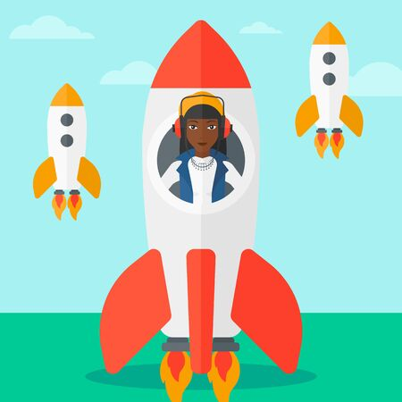 An african-american woman taking off in a rocket on the background of blue sky vector flat design illustration. Square layout.