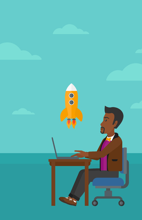 man looking at sky: An african-american man sitting at the table in front of laptop and looking at a flying rocket on the background of blue sky vector flat design illustration. Vertical layout.