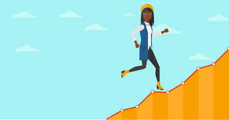 runner up: An african-american woman running along the growth graph on the background of blue sky vector flat design illustration. Horizontal layout.