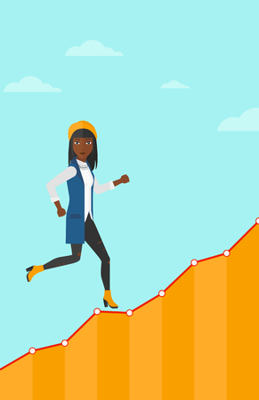 runner up: An african-american woman running along the growth graph on the background of blue sky vector flat design illustration. Vertical layout.