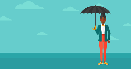 sheltering: An african-american woman standing with an umbrella on the background of blue sky vector flat design illustration. Horizontal layout. Illustration