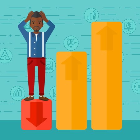 uprising: An african-american man clutching his head and standing in bottom of uprising chart on a blue background with business icons vector flat design illustration. Square layout.