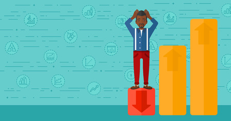 uprising: An african-american man clutching his head and standing in bottom of uprising chart on a blue background with business icons vector flat design illustration. Horizontal layout.