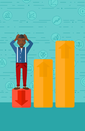 uprising: An african-american man clutching his head and standing in bottom of uprising chart on a blue background with business icons vector flat design illustration. Vertical layout. Illustration