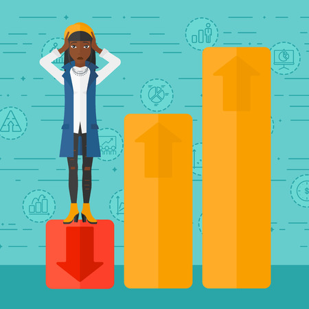 uprising: An african-american woman clutching her head and standing in bottom of uprising chart on a blue background with business icons vector flat design illustration. Square layout.