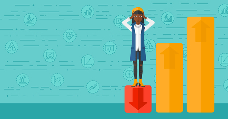 An african-american woman clutching her head and standing in bottom of uprising chart on a blue background with business icons vector flat design illustration. Horizontal layout.  イラスト・ベクター素材