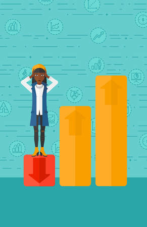 uprising: An african-american woman clutching her head and standing in bottom of uprising chart on a blue background with business icons vector flat design illustration. Vertical layout.