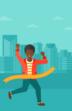 concurrence: An african-american man running through finishing line on the background of modern city vector flat design illustration. Vertical layout.