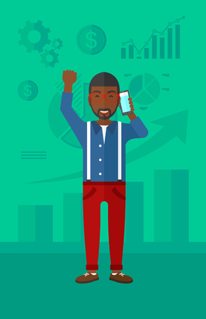 An african-american man with raised hand talking on the phone on a green background with business charts vector flat design illustration. Vertical layout. 向量圖像