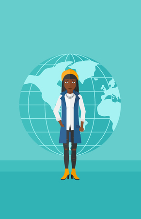 business woman standing: An african-american successful business woman standing on a blue background with earth globe vector flat design illustration. Vertical layout.