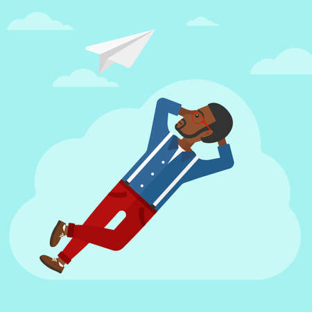 man looking at sky: An african-american man lying on a cloud and looking at flying paper plane on the background of blue sky vector flat design illustration. Square layout.